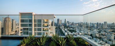 גינת על מרפסת בניין עם ערוגה ירוקה