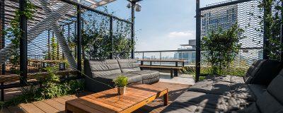 פינת ישיבה עם צמחייה בגינה על הגג