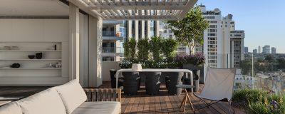 גינה ירוקה עם פינות ישיבה ושולחן אוכל במרפסת