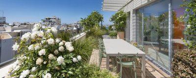 עיצוב מרפסת קטנה עם צמחים ושולחן אוכל