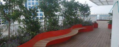 ספסל ישיבה בצמוד לצמחיה