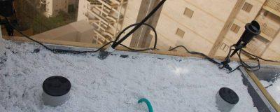 תהליך העבודה במהלך הקמת גינת גג