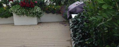 דק בהיר בשילוב אדניות בגינת גג
