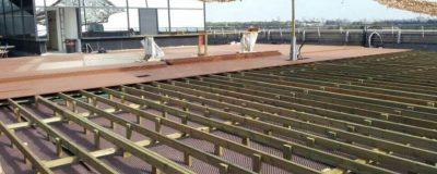 שלבי עבודה בחיפוי דק לטובת הקמת גינת גג