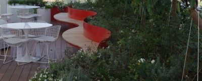 הפחת חיים בגינה על גג בניין בעזרת צבע אדום וירוק