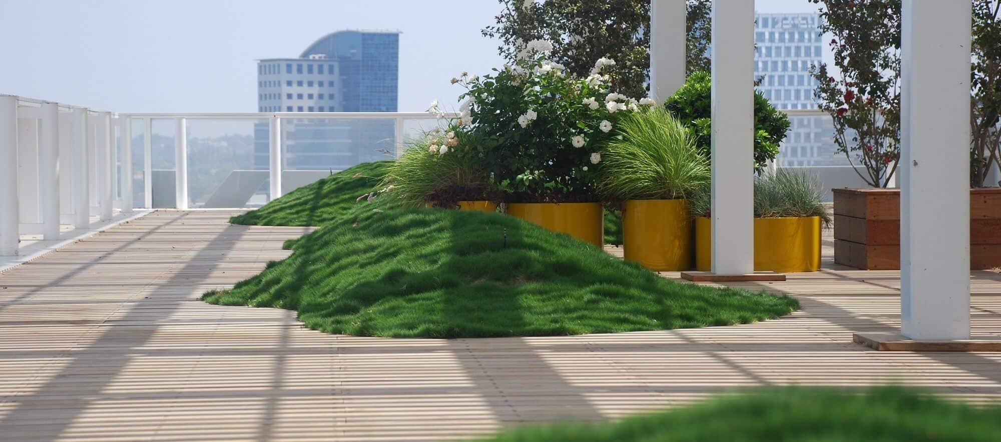 גינת גג מעוצבת עם צמחים ודשא סינטטי